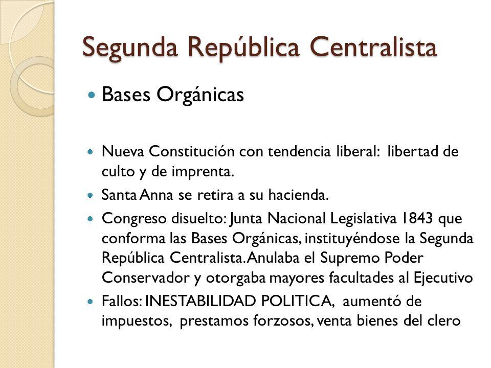Segunda República Centralista Bases Orgánicas Nueva Constitución con tendencia liberal: libertad de culto y de imprenta. Santa Anna se retira a su hac