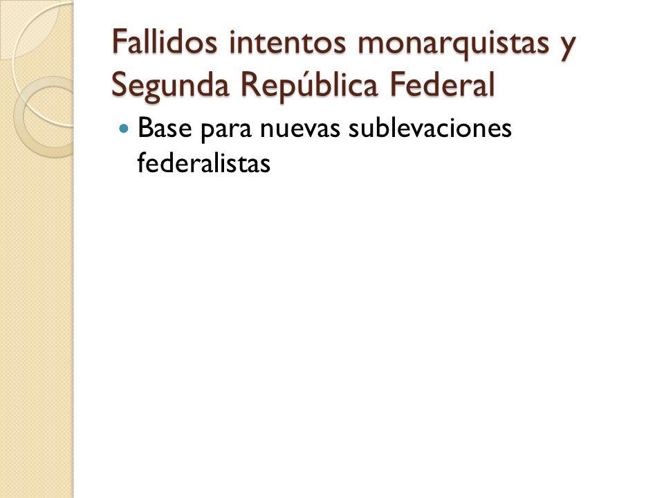 Fallidos intentos monarquistas y Segunda República Federal Base para nuevas sublevaciones federalistas