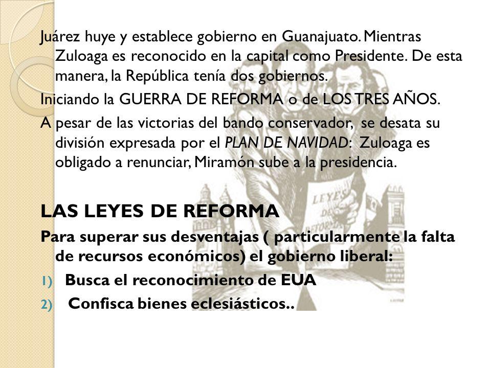 Juárez huye y establece gobierno en Guanajuato. Mientras Zuloaga es reconocido en la capital como Presidente. De esta manera, la República tenía dos g