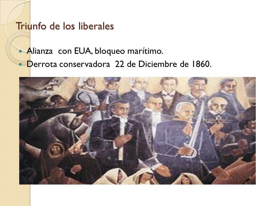 Triunfo de los liberales Alianza con EUA, bloqueo marítimo. Derrota conservadora 22 de Diciembre de 1860.