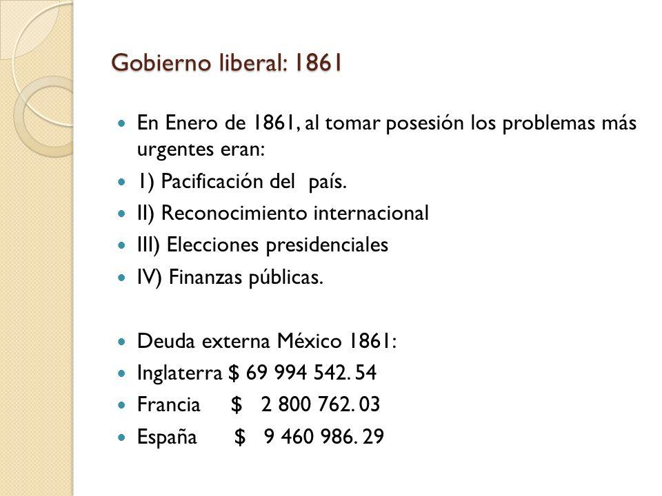 Gobierno liberal: 1861 En Enero de 1861, al tomar posesión los problemas más urgentes eran: 1) Pacificación del país. II) Reconocimiento internacional
