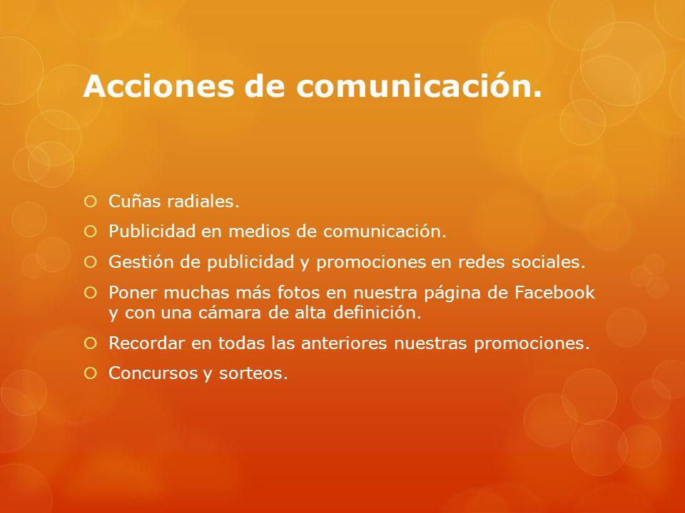 Acciones de comunicación.Cuñas radiales. Publicidad en medios de comunicación.