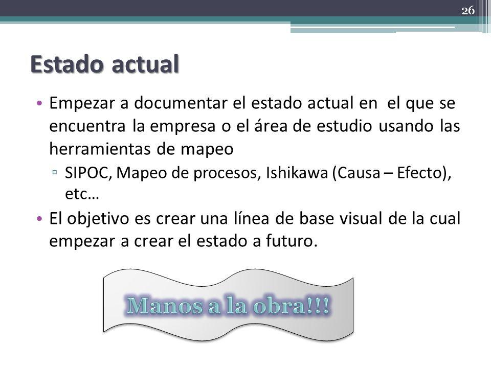 Estado actual Empezar a documentar el estado actual en el que se encuentra la empresa o el área de estudio usando las herramientas de mapeo SIPOC, Map