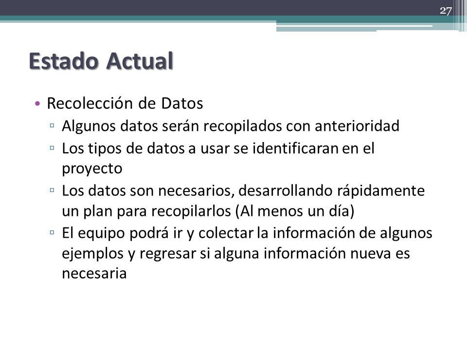 Estado Actual Recolección de Datos Algunos datos serán recopilados con anterioridad Los tipos de datos a usar se identificaran en el proyecto Los dato