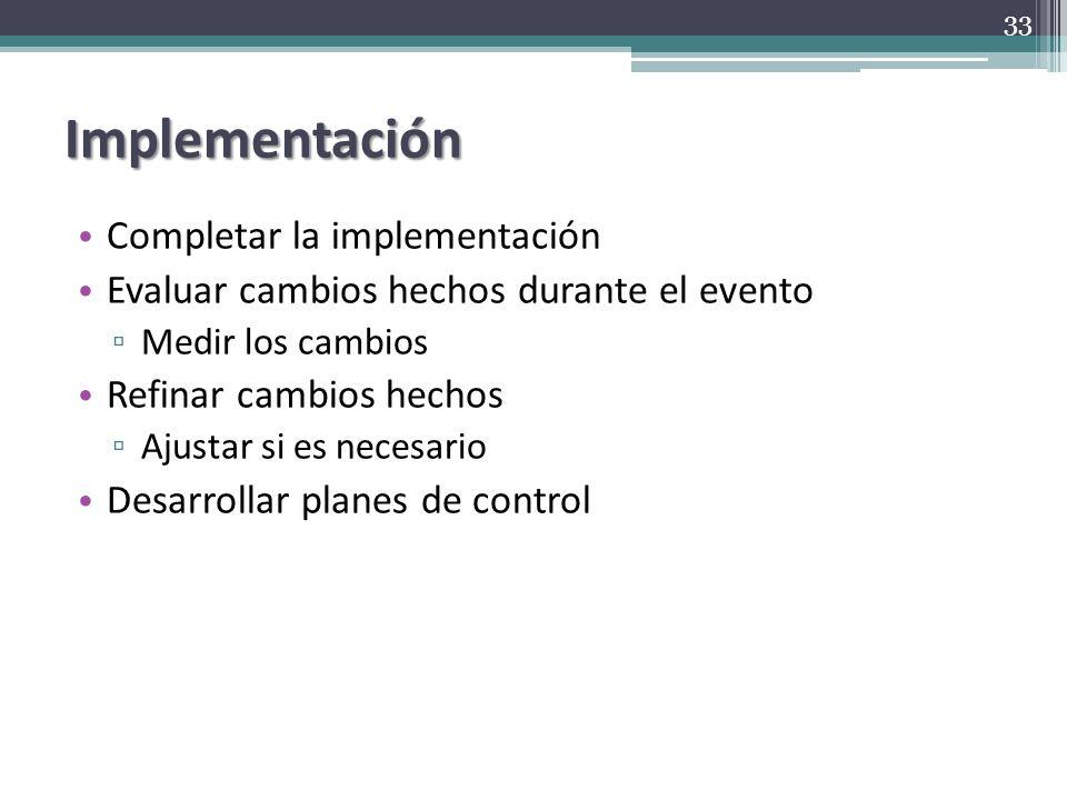 Implementación Completar la implementación Evaluar cambios hechos durante el evento Medir los cambios Refinar cambios hechos Ajustar si es necesario D