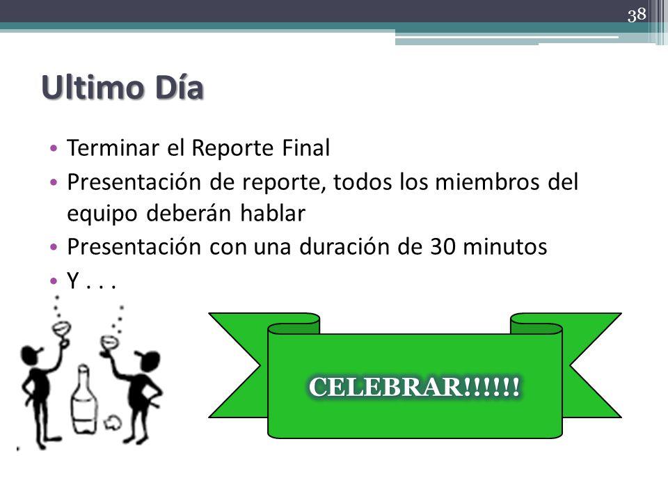 Ultimo Día Terminar el Reporte Final Presentación de reporte, todos los miembros del equipo deberán hablar Presentación con una duración de 30 minutos