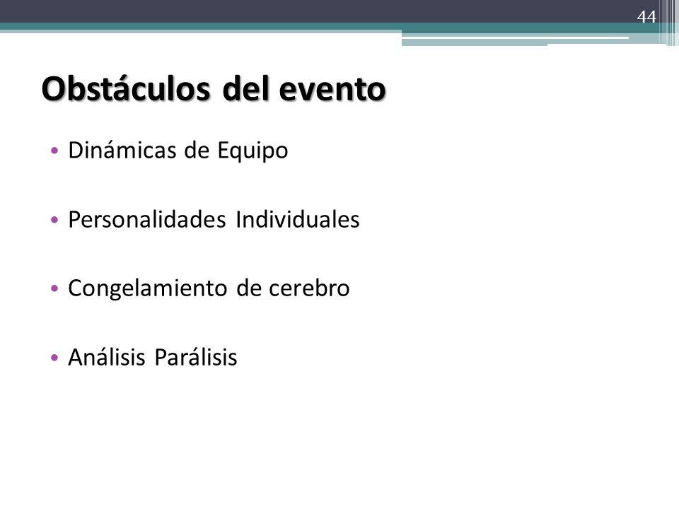 Obstáculos del evento Dinámicas de Equipo Personalidades Individuales Congelamiento de cerebro Análisis Parálisis 44