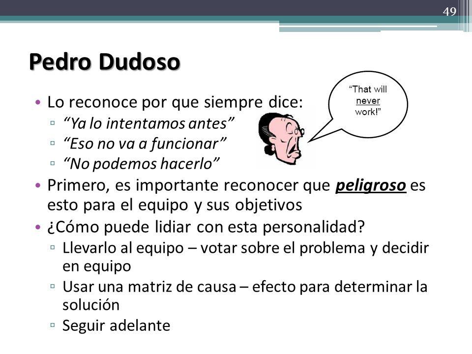 Pedro Dudoso Lo reconoce por que siempre dice: Ya lo intentamos antes Eso no va a funcionar No podemos hacerlo Primero, es importante reconocer que pe