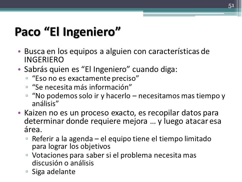 Paco El Ingeniero Busca en los equipos a alguien con características de INGERIERO Sabrás quien es El Ingeniero cuando diga: Eso no es exactamente prec
