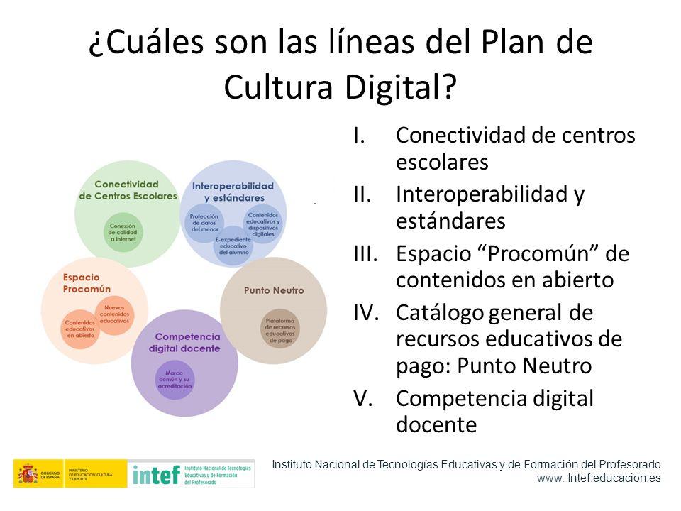 ¿Cuáles son las líneas del Plan de Cultura Digital? I.Conectividad de centros escolares II.Interoperabilidad y estándares III.Espacio Procomún de cont