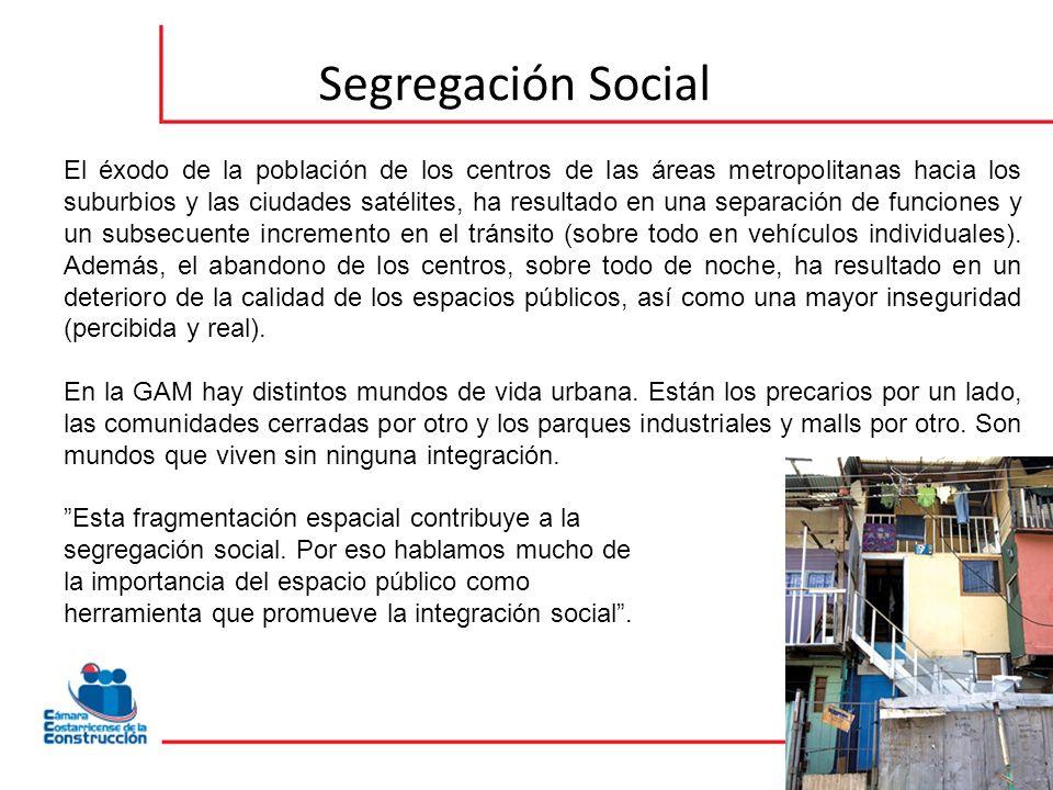 Segregación Social El éxodo de la población de los centros de las áreas metropolitanas hacia los suburbios y las ciudades satélites, ha resultado en una separación de funciones y un subsecuente incremento en el tránsito (sobre todo en vehículos individuales).