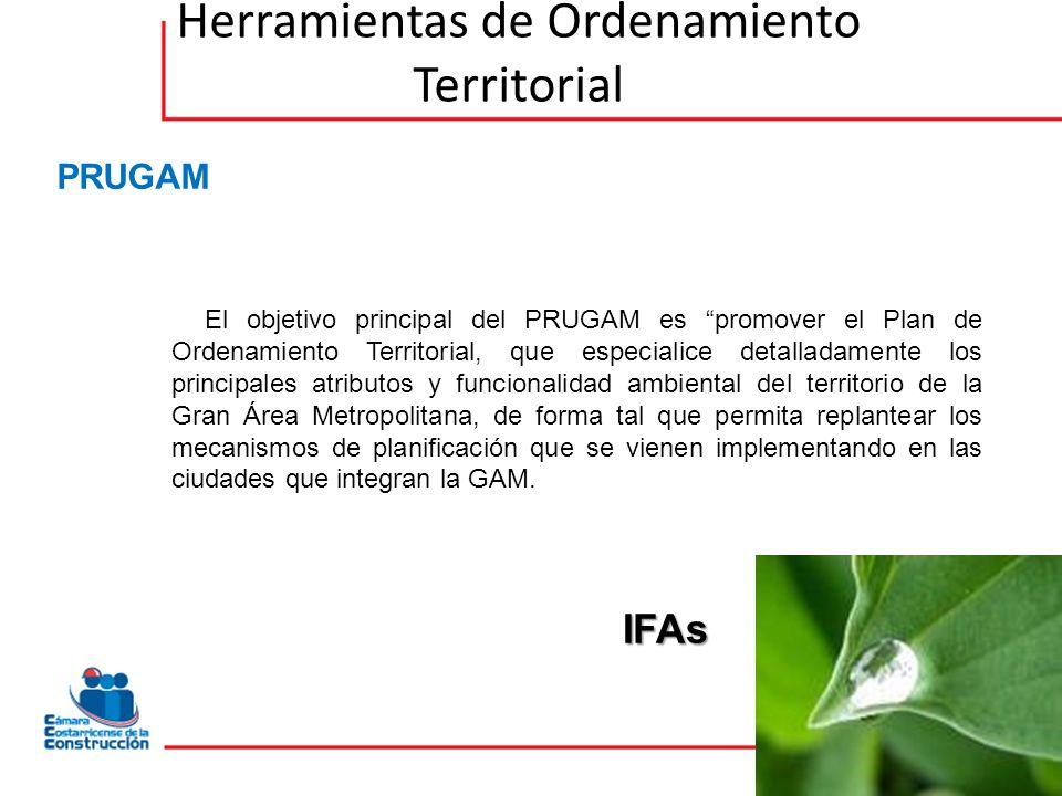Herramientas de Ordenamiento Territorial El objetivo principal del PRUGAM es promover el Plan de Ordenamiento Territorial, que especialice detalladamente los principales atributos y funcionalidad ambiental del territorio de la Gran Área Metropolitana, de forma tal que permita replantear los mecanismos de planificación que se vienen implementando en las ciudades que integran la GAM.