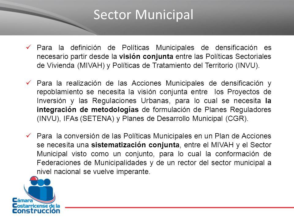 Sector Municipal Para la definición de Políticas Municipales de densificación es necesario partir desde la visión conjunta entre las Políticas Sectoriales de Vivienda (MIVAH) y Políticas de Tratamiento del Territorio (INVU).