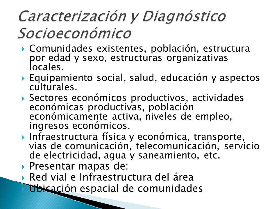 Los recursos naturales, usos actuales y potenciales, su capital social, estructura local, evaluando el alcance de sus acciones en la cuenca.