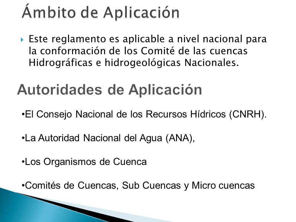 a)Comité de Cuenca: Autoridades de gestión de los Recursos Hídricos de carácter local y con competencia circunscrita a una cuenca hidrográfica.