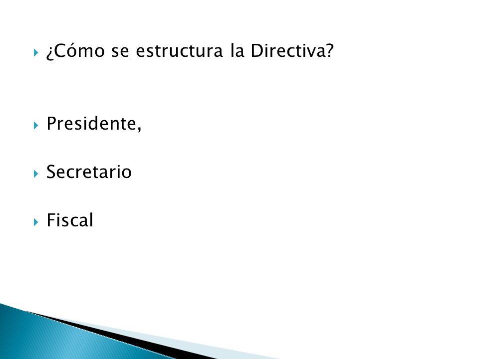 ¿Cómo se estructura la Directiva? Presidente, Secretario Fiscal