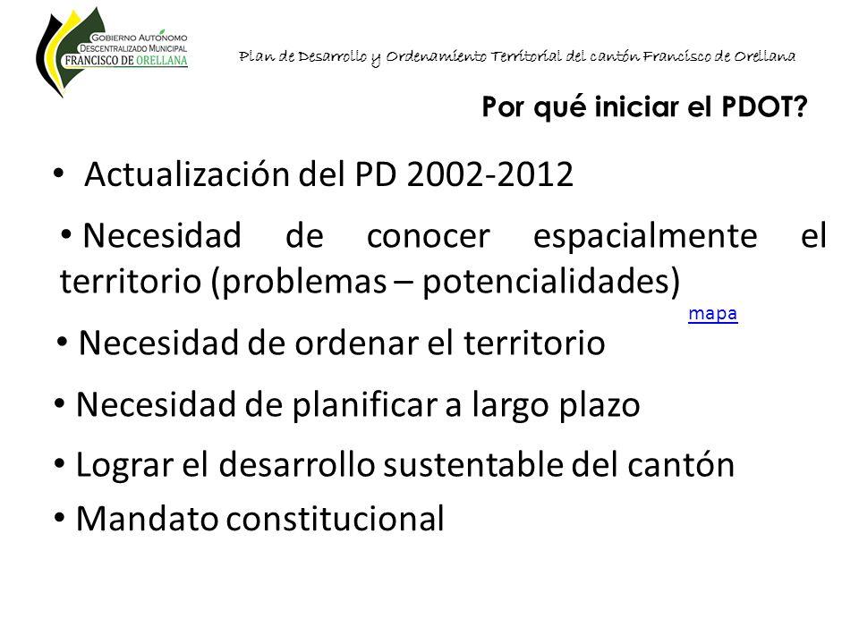 Plan de Desarrollo y Ordenamiento Territorial del cantón Francisco de Orellana Por qué iniciar el PDOT? Actualización del PD 2002-2012 mapa Necesidad