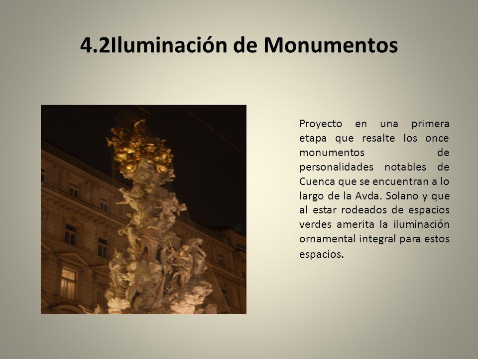 4.2Iluminación de Monumentos Proyecto en una primera etapa que resalte los once monumentos de personalidades notables de Cuenca que se encuentran a lo largo de la Avda.