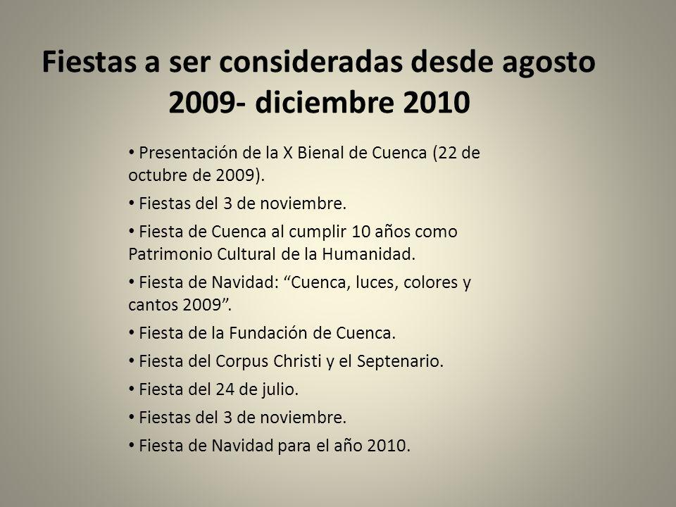 Fiestas a ser consideradas desde agosto 2009- diciembre 2010 Presentación de la X Bienal de Cuenca (22 de octubre de 2009). Fiestas del 3 de noviembre