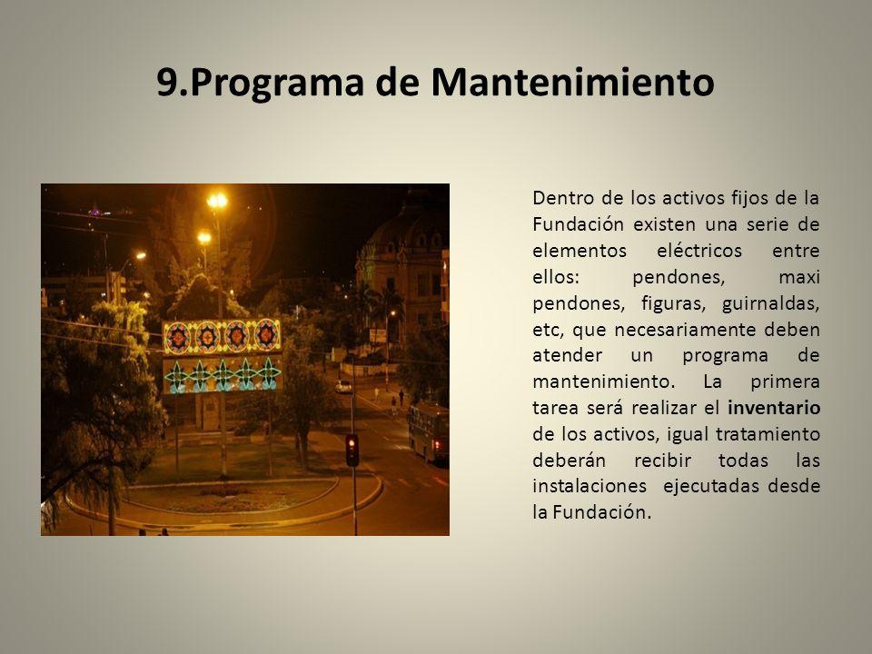 9.Programa de Mantenimiento Dentro de los activos fijos de la Fundación existen una serie de elementos eléctricos entre ellos: pendones, maxi pendones