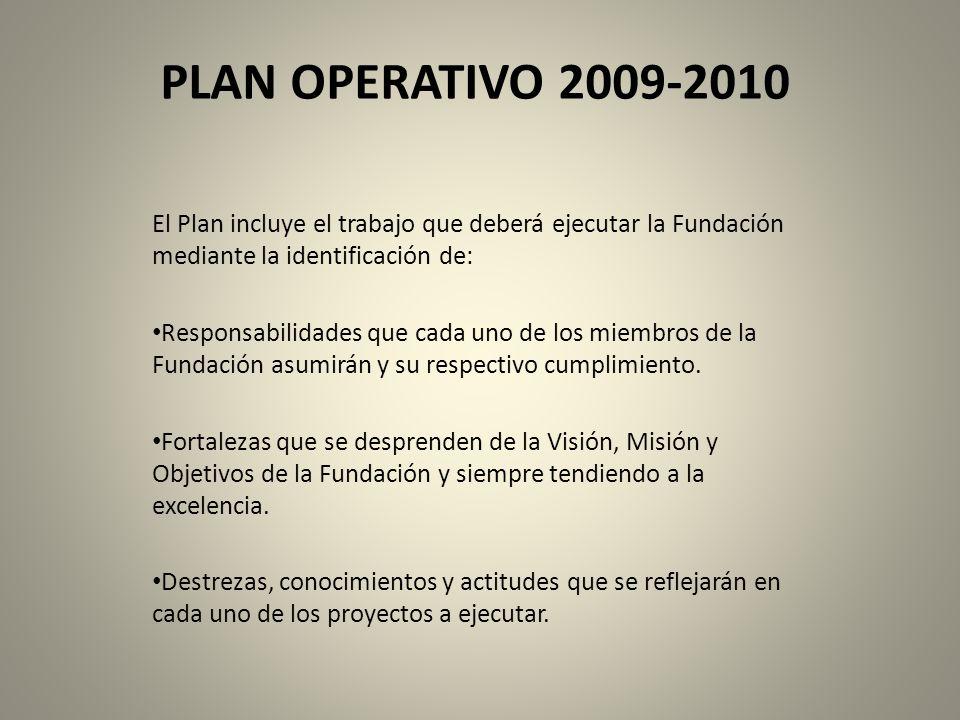 PLAN OPERATIVO 2009-2010 El Plan incluye el trabajo que deberá ejecutar la Fundación mediante la identificación de: Responsabilidades que cada uno de los miembros de la Fundación asumirán y su respectivo cumplimiento.