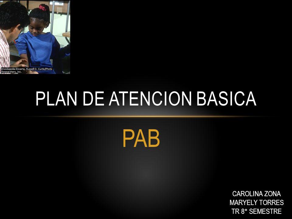 PAB PLAN DE ATENCION BASICA CAROLINA ZONA MARYELY TORRES TR 8° SEMESTRE