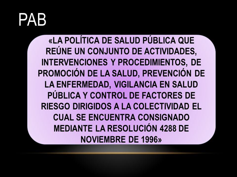 PAB «LA POLÍTICA DE SALUD PÚBLICA QUE REÚNE UN CONJUNTO DE ACTIVIDADES, INTERVENCIONES Y PROCEDIMIENTOS, DE PROMOCIÓN DE LA SALUD, PREVENCIÓN DE LA ENFERMEDAD, VIGILANCIA EN SALUD PÚBLICA Y CONTROL DE FACTORES DE RIESGO DIRIGIDOS A LA COLECTIVIDAD EL CUAL SE ENCUENTRA CONSIGNADO MEDIANTE LA RESOLUCIÓN 4288 DE NOVIEMBRE DE 1996»