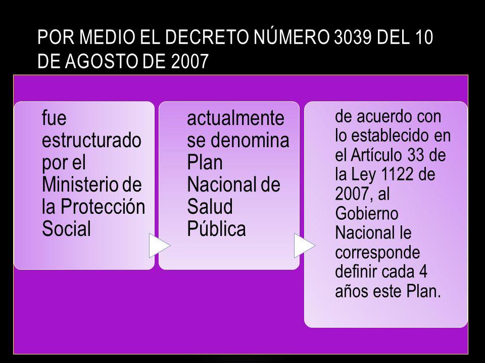 POR MEDIO EL DECRETO NÚMERO 3039 DEL 10 DE AGOSTO DE 2007 fue estructurado por el Ministerio de la Protección Social actualmente se denomina Plan Nacional de Salud Pública de acuerdo con lo establecido en el Artículo 33 de la Ley 1122 de 2007, al Gobierno Nacional le corresponde definir cada 4 años este Plan.
