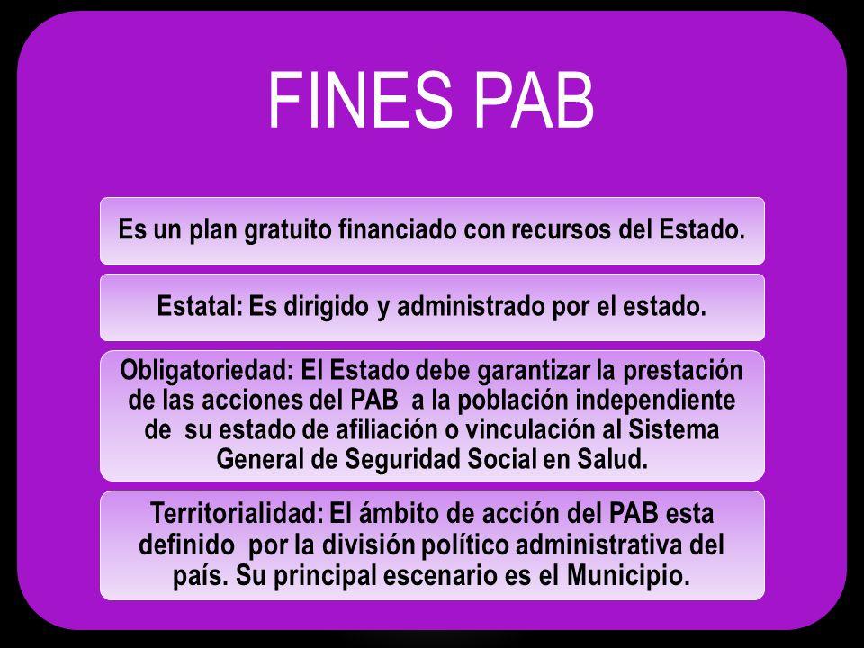 FINES PAB Complementariedad: Las acciones del PAB se complementan con los otros planes de beneficios y los de Salud Pública que adelantan los sectores ambiental, educativo y laboral entre otros.