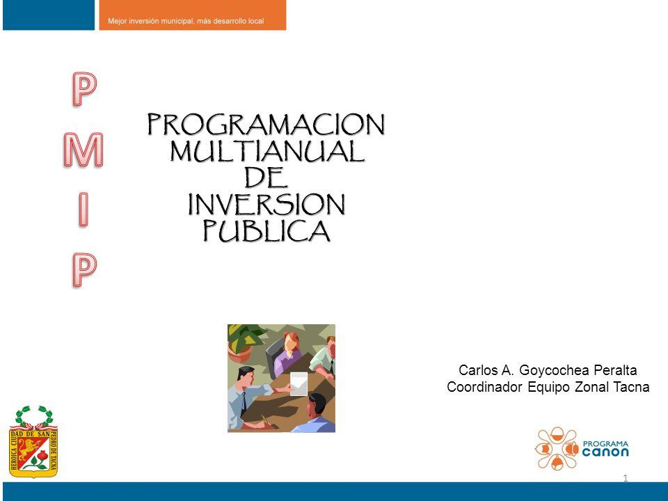 PROGRAMACION MULTIANUAL MULTIANUALDE INVERSION INVERSIONPUBLICA Carlos A. Goycochea Peralta Coordinador Equipo Zonal Tacna 1