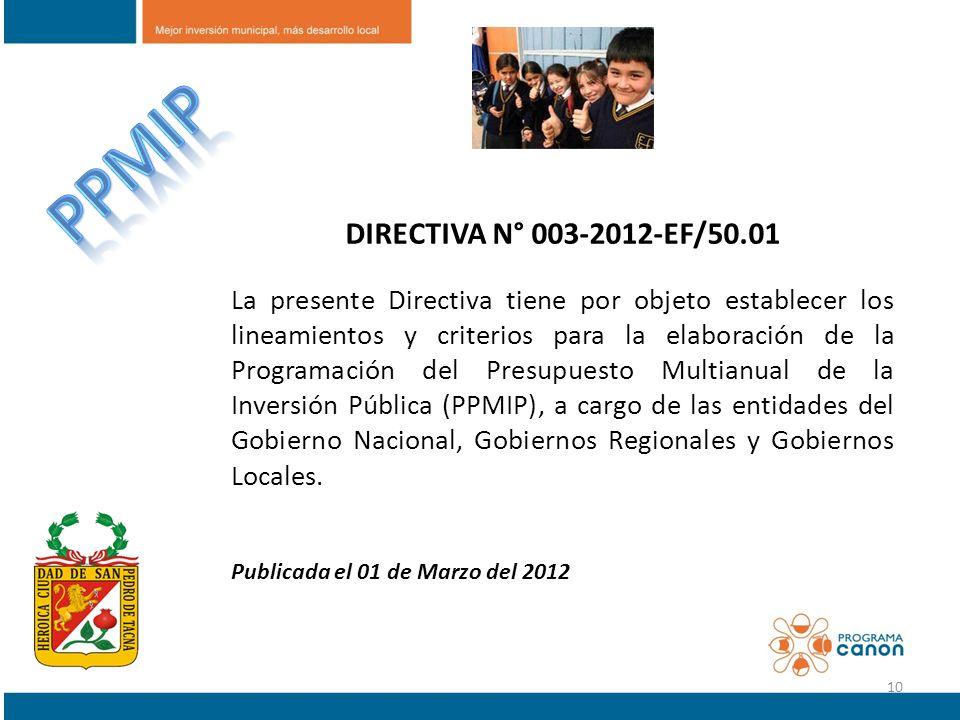 DIRECTIVA N° 003-2012-EF/50.01 La presente Directiva tiene por objeto establecer los lineamientos y criterios para la elaboración de la Programación d