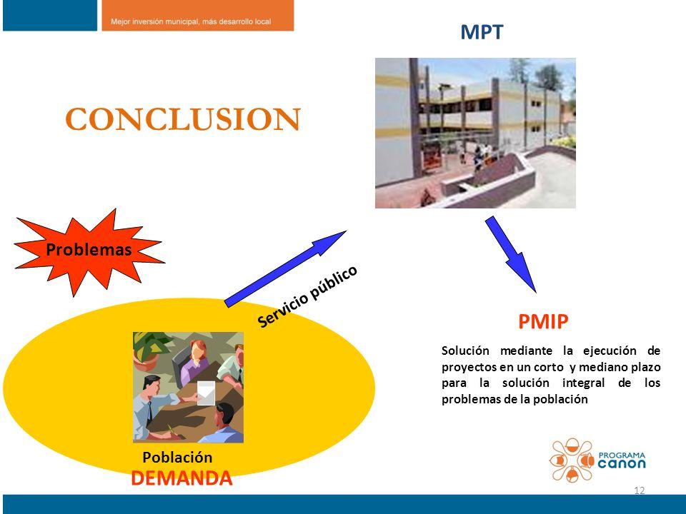 Problemas Servicio público Población DEMANDA PMIP Solución mediante la ejecución de proyectos en un corto y mediano plazo para la solución integral de
