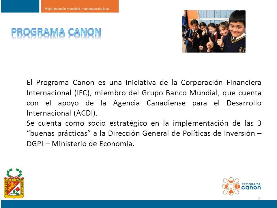 El Programa Canon es una iniciativa de la Corporación Financiera Internacional (IFC), miembro del Grupo Banco Mundial, que cuenta con el apoyo de la A