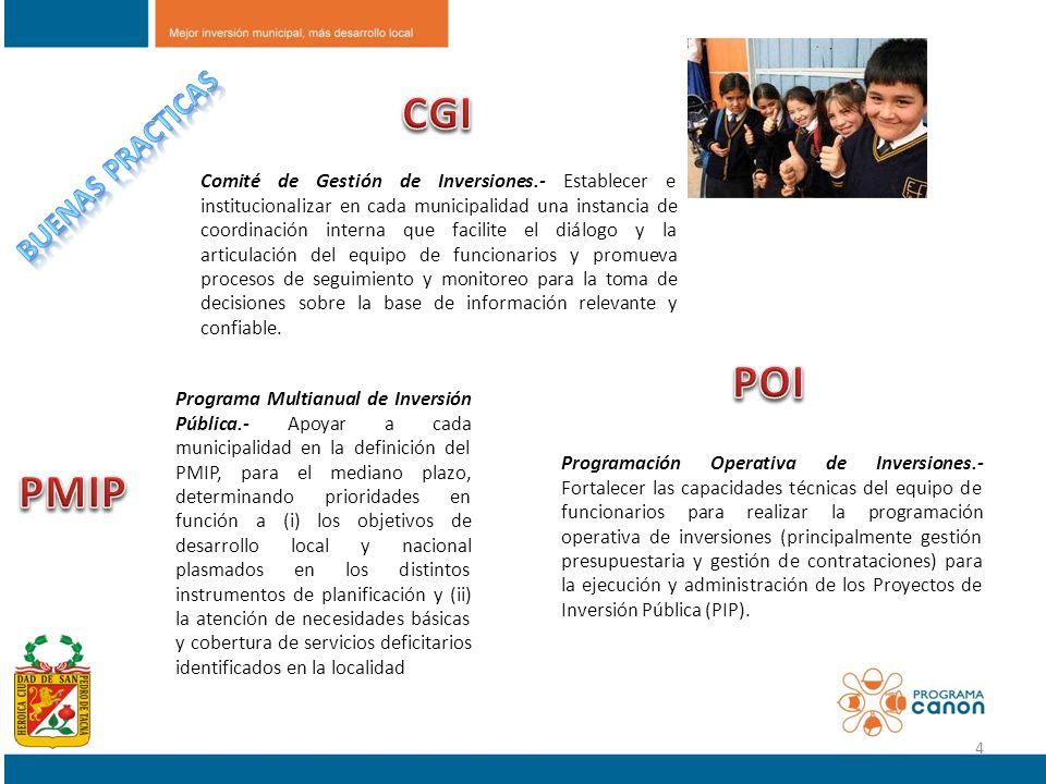 Comité de Gestión de Inversiones.- Establecer e institucionalizar en cada municipalidad una instancia de coordinación interna que facilite el diálogo
