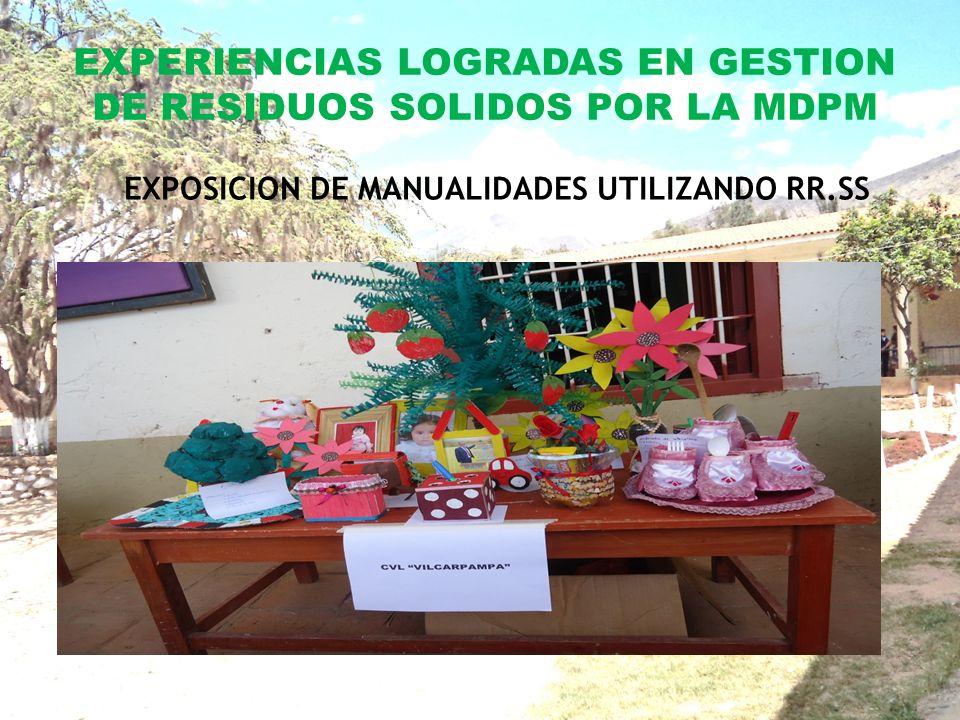 EXPERIENCIAS LOGRADAS EN GESTION DE RESIDUOS SOLIDOS POR LA MDPM EXPOSICION DE MANUALIDADES UTILIZANDO RR.SS