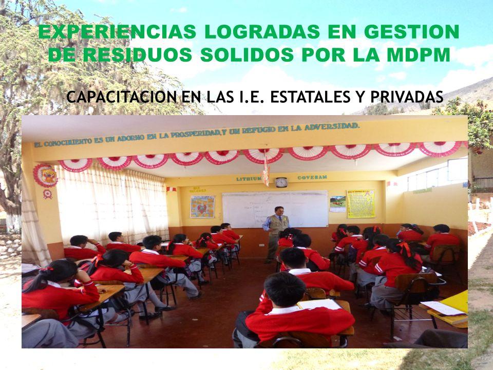 EXPERIENCIAS LOGRADAS EN GESTION DE RESIDUOS SOLIDOS POR LA MDPM CAPACITACION EN LAS I.E.