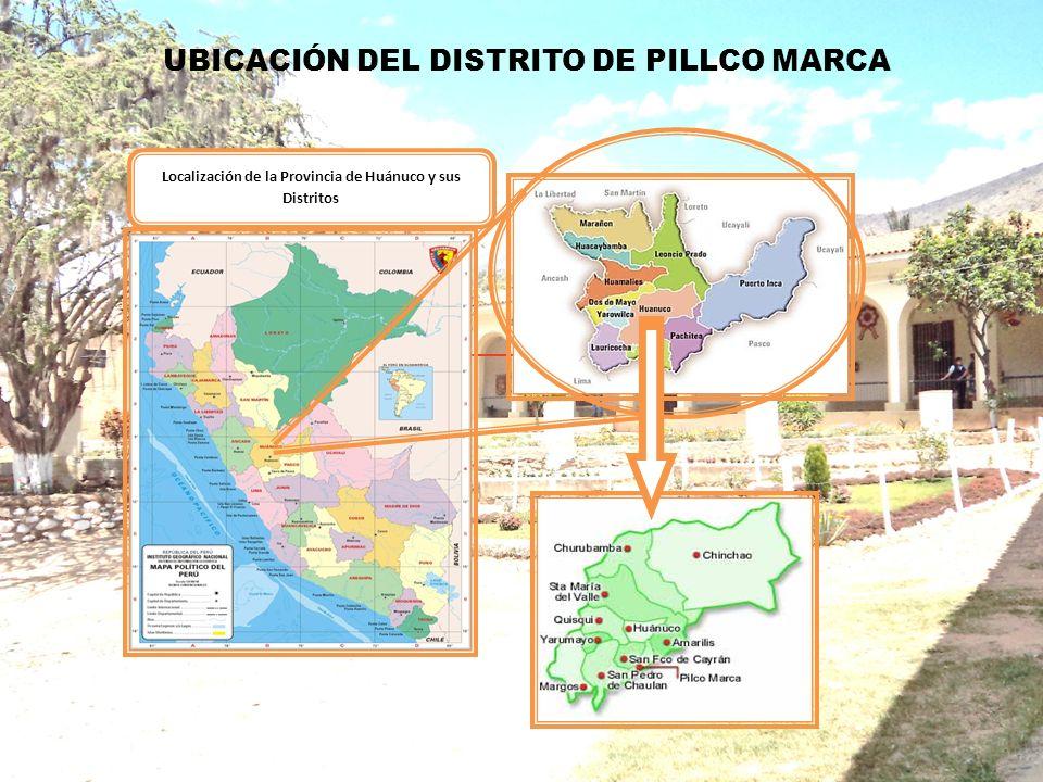 UBICACIÓN DEL DISTRITO DE PILLCO MARCA SUBGERENCIA DE LIMPIEZA PUBLICA Localización de la Provincia de Huánuco y sus Distritos