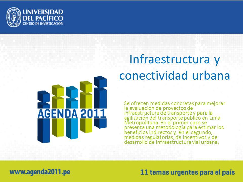 Infraestructura y conectividad urbana Se ofrecen medidas concretas para mejorar la evaluación de proyectos de infraestructura de transporte y para la agilización del transporte público en Lima Metropolitana.