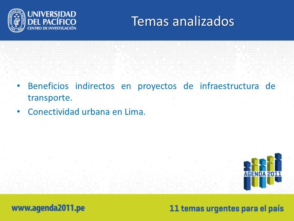 Temas analizados Beneficios indirectos en proyectos de infraestructura de transporte. Conectividad urbana en Lima.