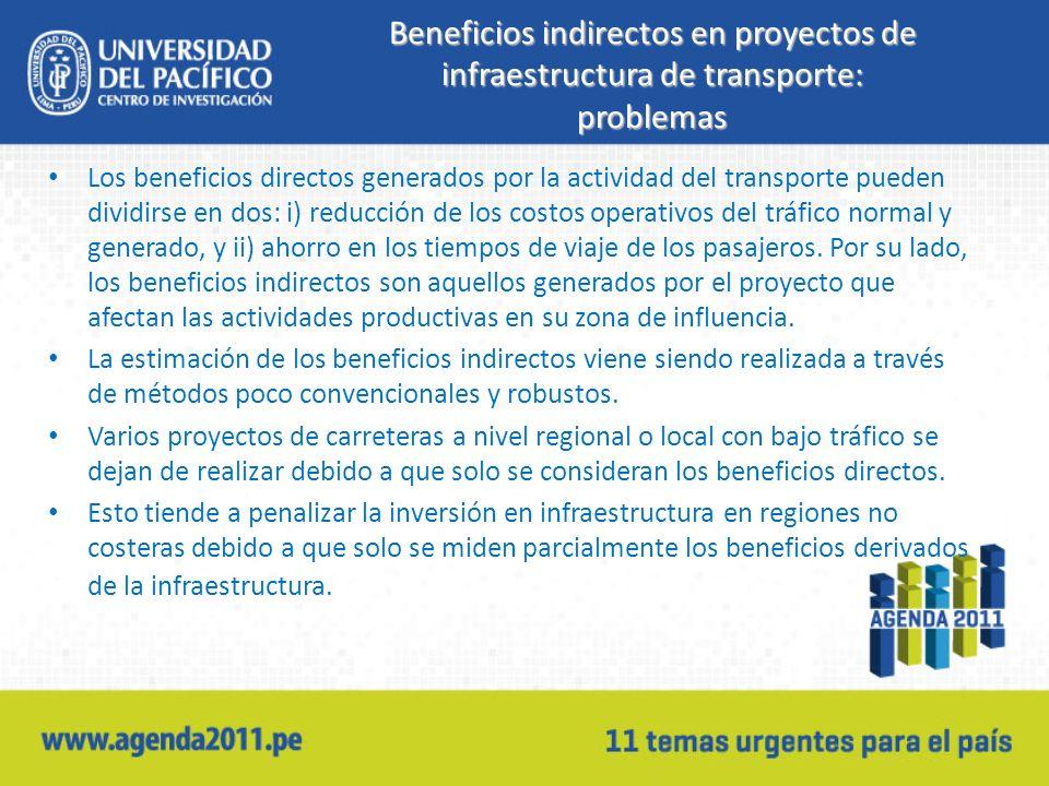 Beneficios indirectos en proyectos de infraestructura de transporte: problemas Los beneficios directos generados por la actividad del transporte pueden dividirse en dos: i) reducción de los costos operativos del tráfico normal y generado, y ii) ahorro en los tiempos de viaje de los pasajeros.