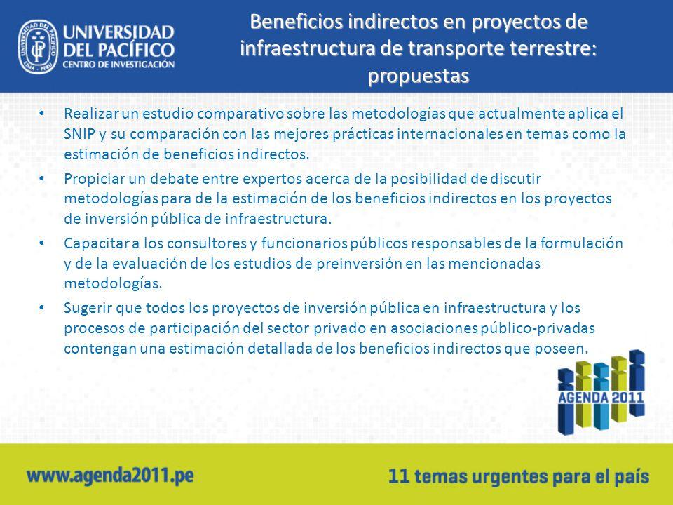 Beneficios indirectos en proyectos de infraestructura de transporte terrestre: propuestas Realizar un estudio comparativo sobre las metodologías que actualmente aplica el SNIP y su comparación con las mejores prácticas internacionales en temas como la estimación de beneficios indirectos.