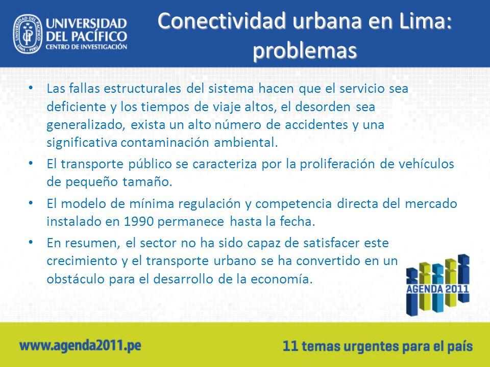 Conectividad urbana en Lima: problemas Las fallas estructurales del sistema hacen que el servicio sea deficiente y los tiempos de viaje altos, el desorden sea generalizado, exista un alto número de accidentes y una significativa contaminación ambiental.