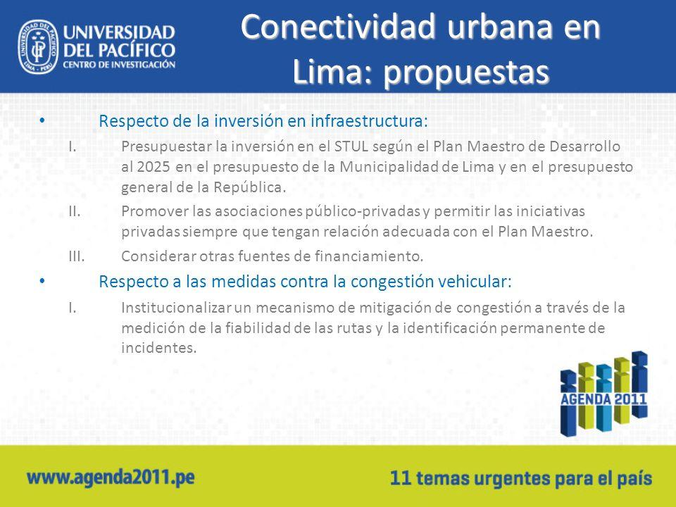 Conectividad urbana en Lima: propuestas Respecto de la inversión en infraestructura: I.Presupuestar la inversión en el STUL según el Plan Maestro de Desarrollo al 2025 en el presupuesto de la Municipalidad de Lima y en el presupuesto general de la República.