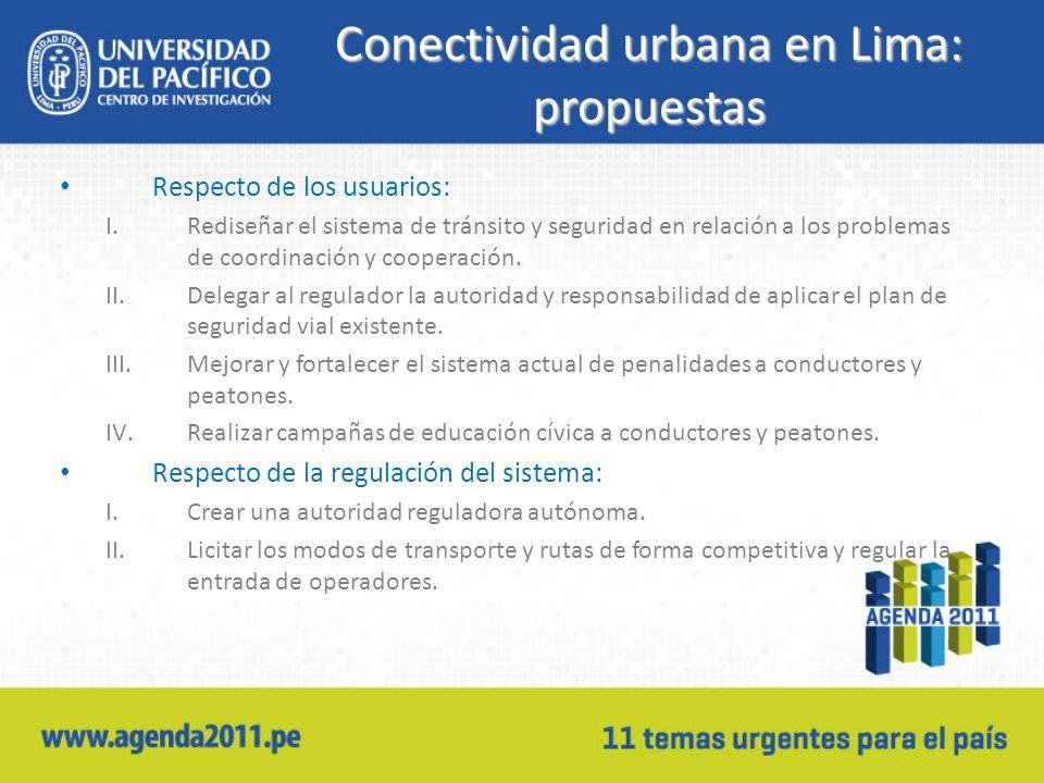 Conectividad urbana en Lima: propuestas Respecto de los usuarios: I.Rediseñar el sistema de tránsito y seguridad en relación a los problemas de coordi