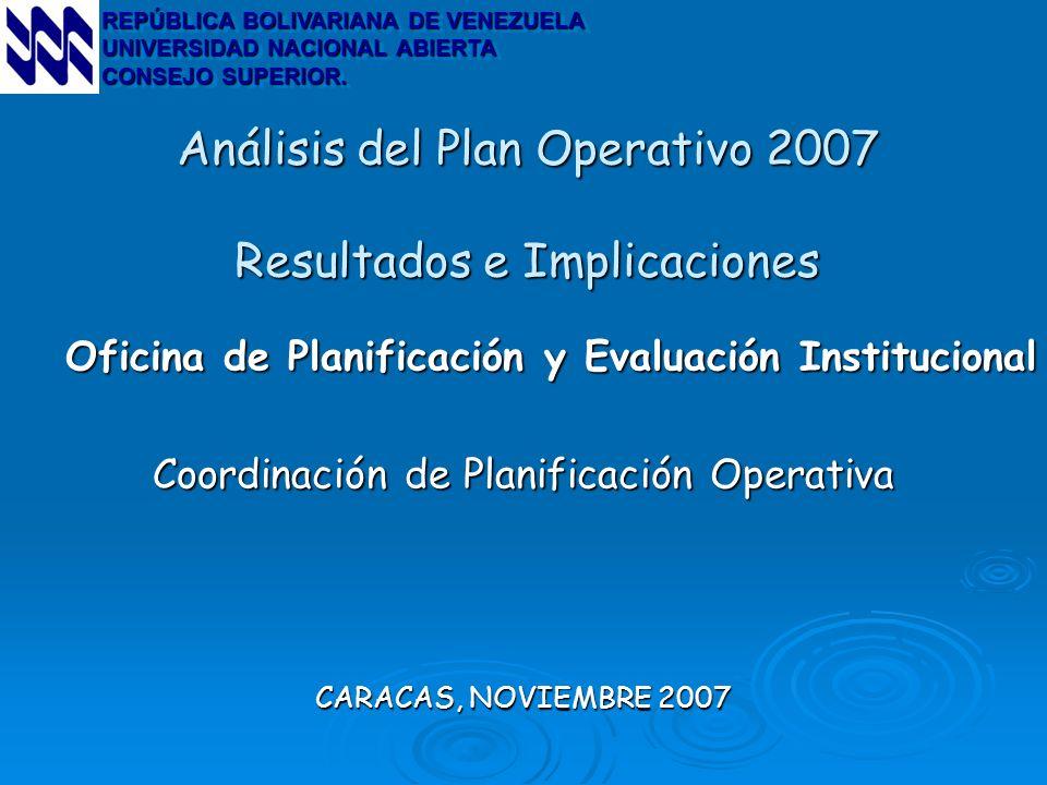 Análisis del Plan Operativo 2007 Resultados e Implicaciones Oficina de Planificación y Evaluación Institucional Coordinación de Planificación Operativ