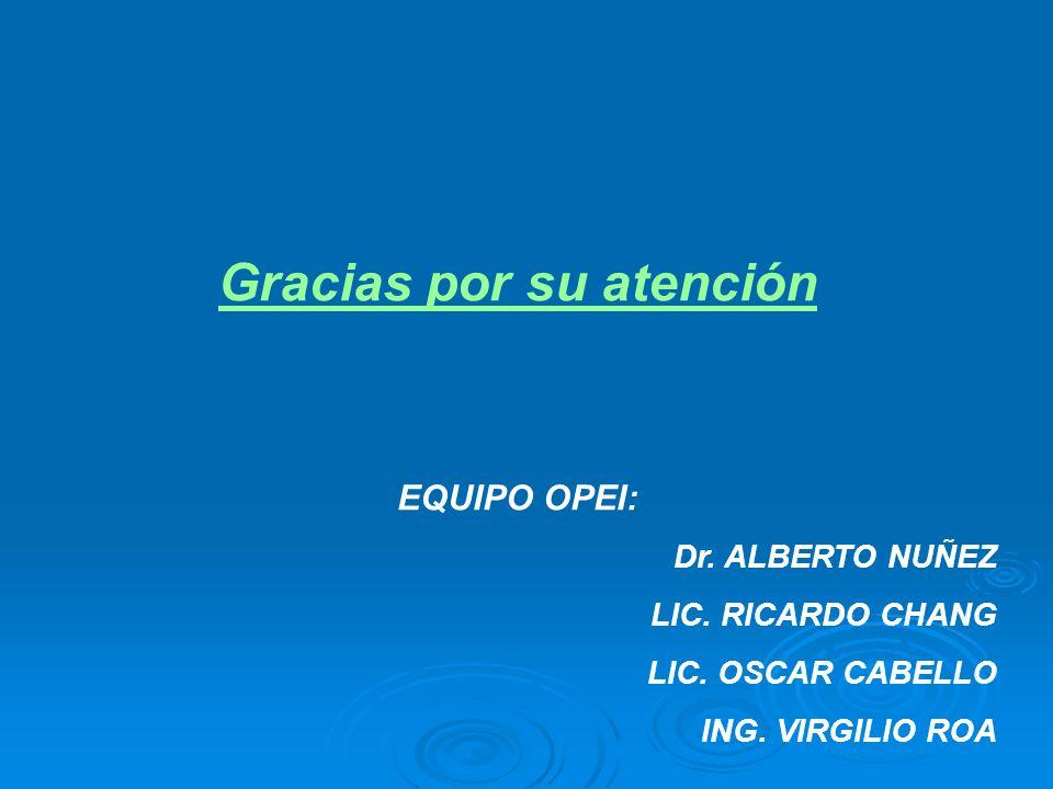 Gracias por su atención EQUIPO OPEI: Dr. ALBERTO NUÑEZ LIC. RICARDO CHANG LIC. OSCAR CABELLO ING. VIRGILIO ROA