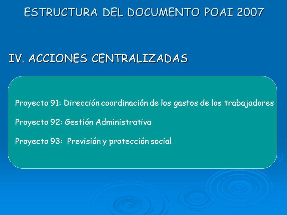 ESTRUCTURA DEL DOCUMENTO POAI 2007 IV. ACCIONES CENTRALIZADAS Se especifican las actividades y volúmenes de trabajo que realizan las unidades administ
