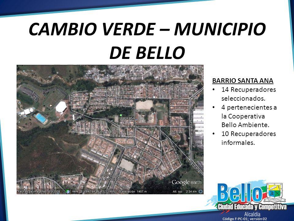 Código F-PC-01; versión 02 CAMBIO VERDE – MUNICIPIO DE BELLO BARRIO SANTA ANA 14 Recuperadores seleccionados. 4 pertenecientes a la Cooperativa Bello