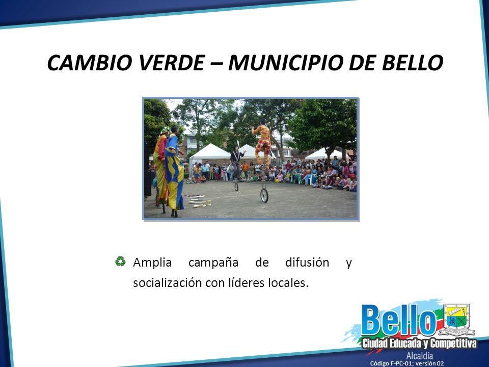 Código F-PC-01; versión 02 CAMBIO VERDE – MUNICIPIO DE BELLO Amplia campaña de difusión y socialización con líderes locales.