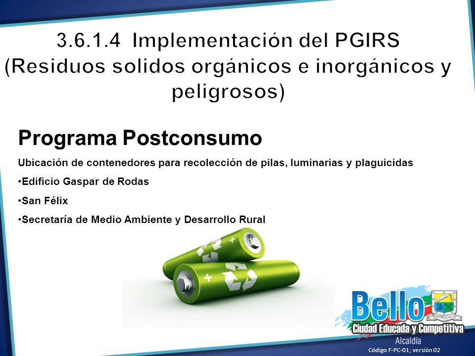 Código F-PC-01; versión 02 Programa Postconsumo Ubicación de contenedores para recolección de pilas, luminarias y plaguicidas Edificio Gaspar de Rodas